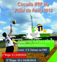 Primeira etapa do Circuito de Vôlei de Praia do IFRR 2018 ocorre neste fim de semana